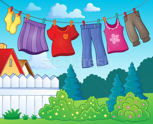 Clothes on clothing line theme image 1 Stock photo © clairev