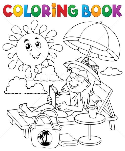 Boyama Kitabı Kız Kadın Gülümseme Kitap Güneş Vektör