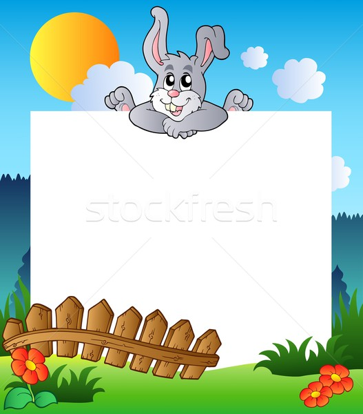 Easter frame with lurking bunny Stock photo © clairev