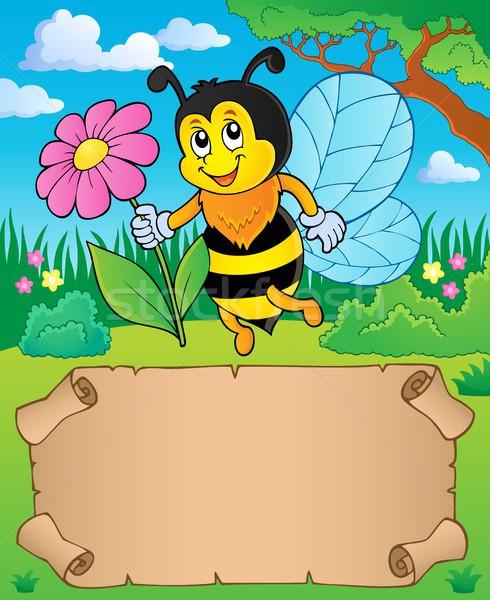 небольшой пергаменте Bee цветок бумаги Сток-фото © clairev