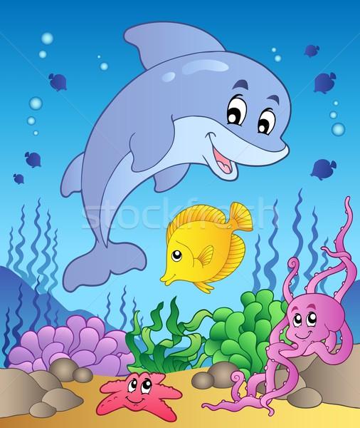 Szczęśliwy Delfin morza dolny uśmiech ryb Zdjęcia stock © clairev