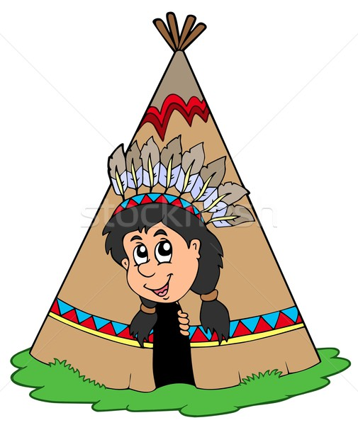 Indian in small tepee Stock photo © clairev