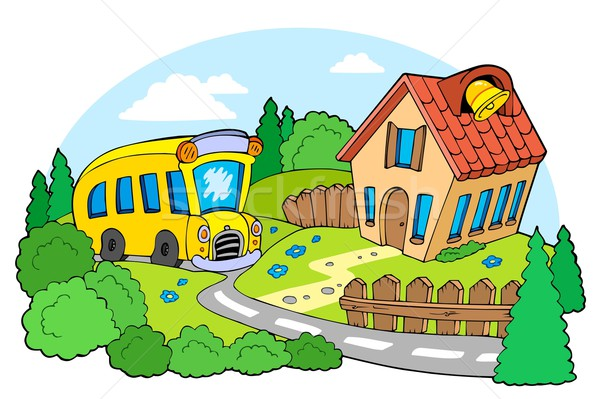 Landscape with school Stock photo © clairev