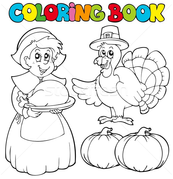 Coloring book Thanksgiving theme Stock photo © clairev