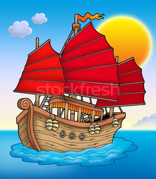 Traditioneel chinese schip zonsondergang kleur illustratie Stockfoto © clairev