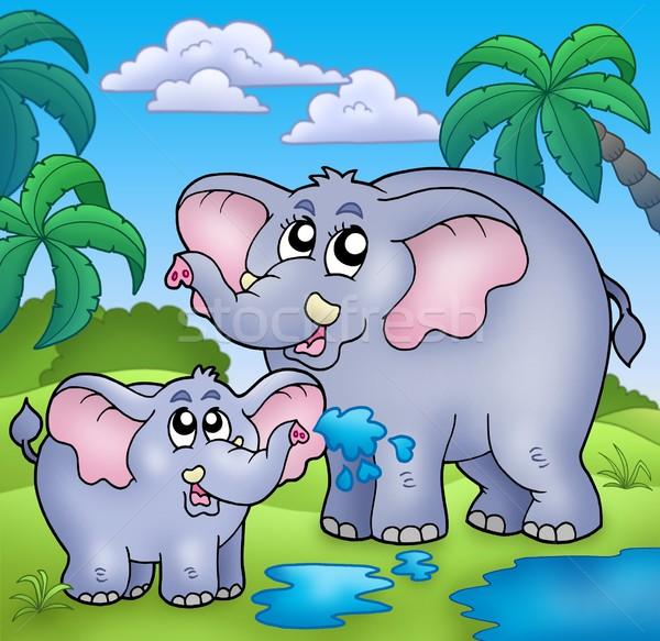 Afrikaanse landschap olifanten kleur illustratie boom Stockfoto © clairev