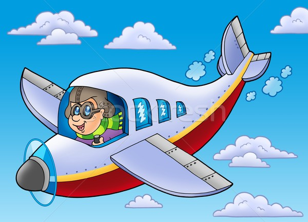 Cartoon aviator on blue sky Stock photo © clairev