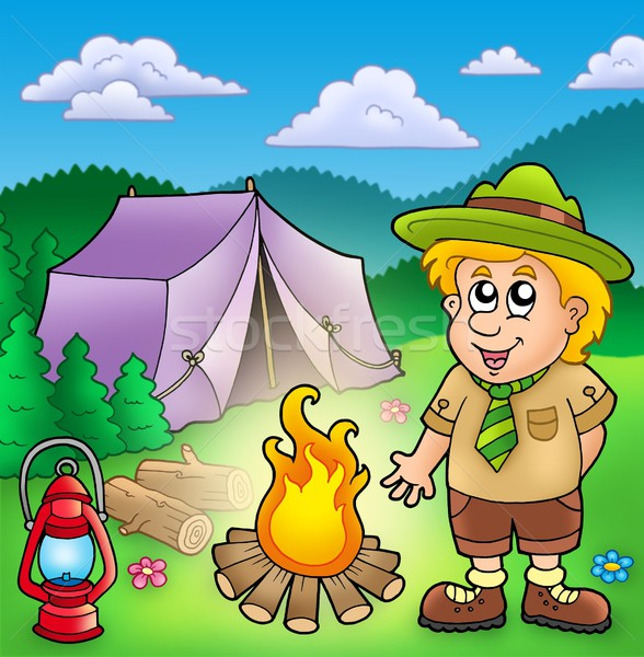 Small scout with fire and tent Stock photo © clairev