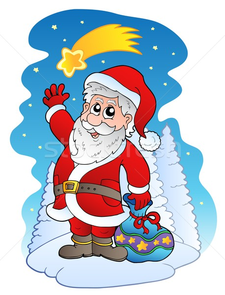 Santa Claus with comet Stock photo © clairev