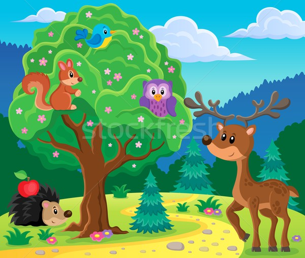лес животные тема изображение природы искусства Сток-фото © clairev