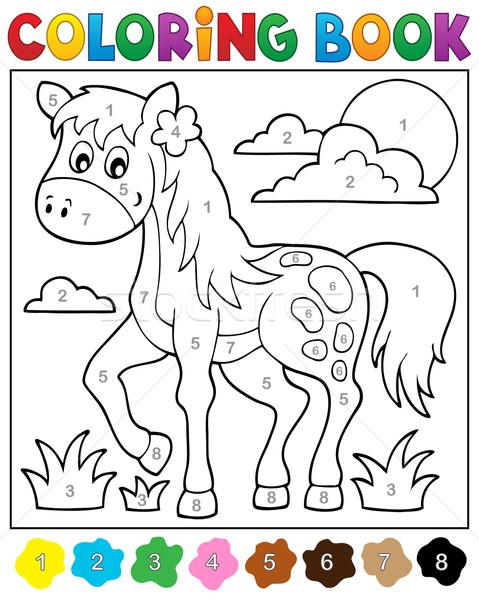 Coloring book with horse Stock photo © clairev