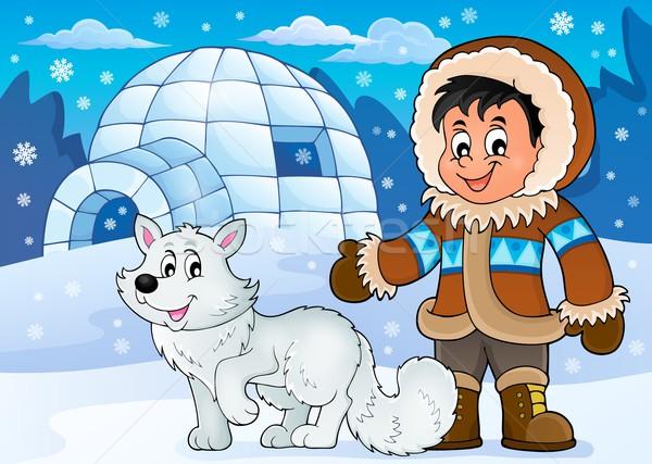 ártico imagem sorrir neve arte menino Foto stock © clairev
