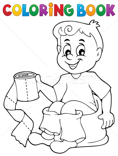 Coloring book boy on potty Stock photo © clairev