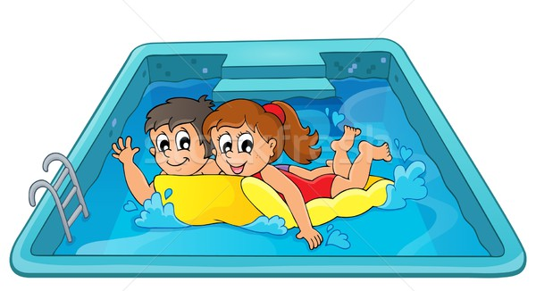 Children on floating mattress in pool Stock photo © clairev
