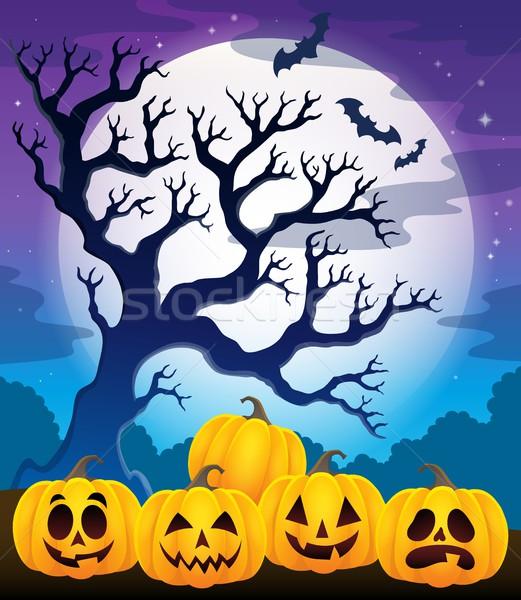 Foto stock: Halloween · abóboras · imagem · cara · outono · sombra