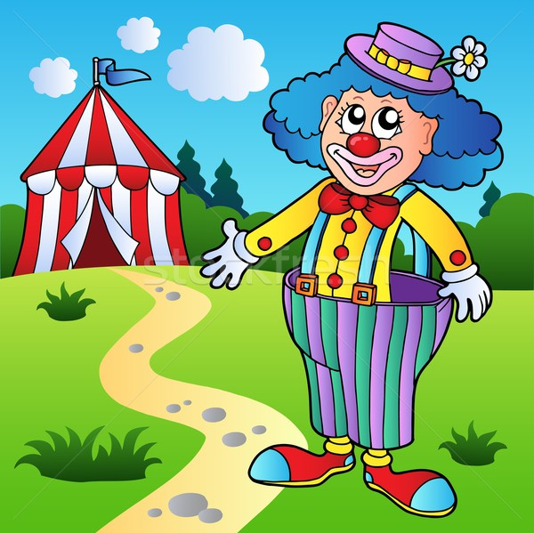 Clown in big pants with circus tent Stock photo © clairev