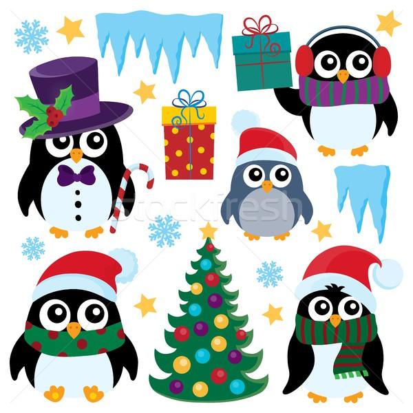 Stilize Noel ayarlamak dizayn kuş kuşlar Stok fotoğraf © clairev