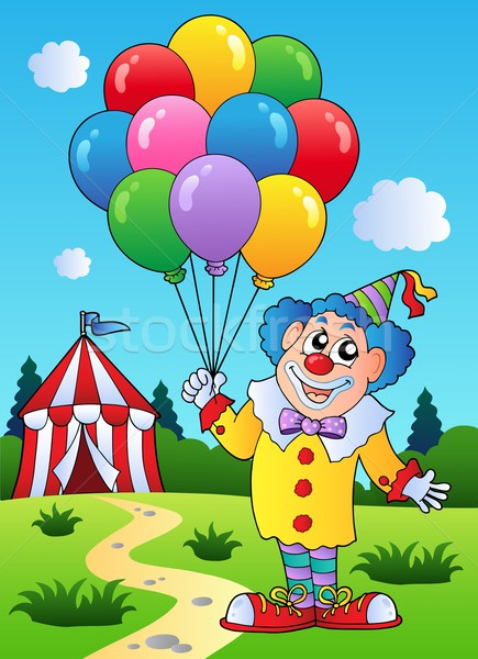 Clown with balloons near tent Stock photo © clairev