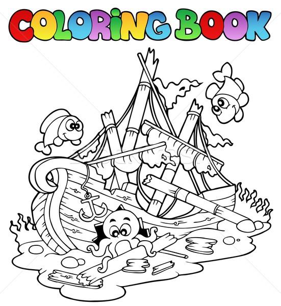 Boyama kitabı gemi enkazı su kitap deniz dizayn Stok fotoğraf © clairev