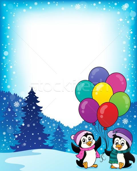 フレーム 幸せ パーティ 芸術 冬 鳥 ストックフォト © clairev