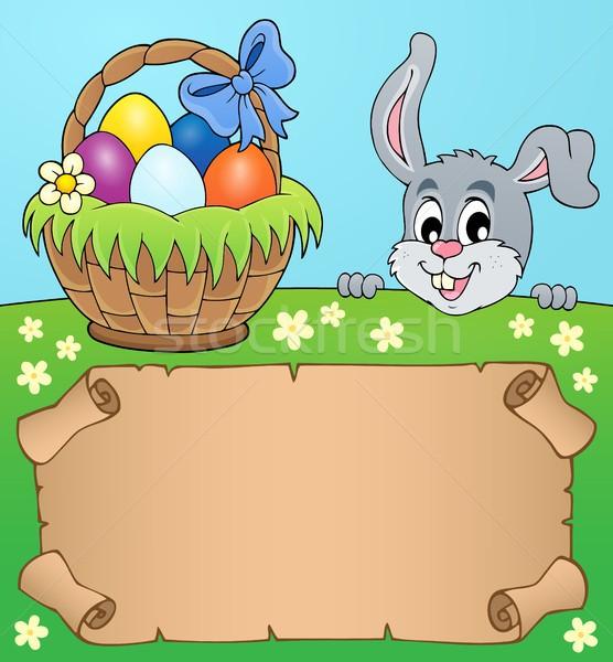 Pergamin Easter bunny papieru sztuki bunny jaj Zdjęcia stock © clairev