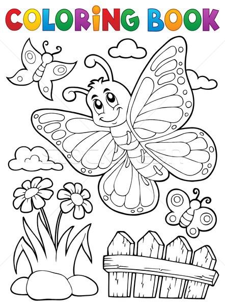 Carte De Colorat Fericit Fluture Subiect Floare