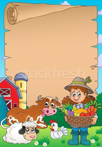 Pergamino mujer agricultor animales nina arte Foto stock © clairev