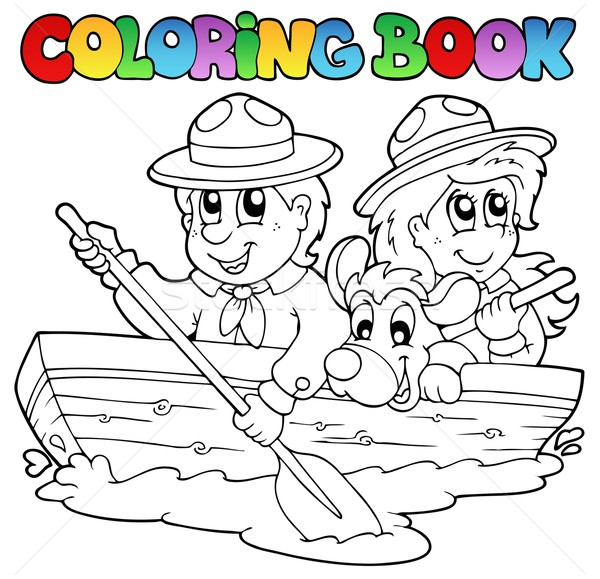 Coloring book with scouts in boat Stock photo © clairev