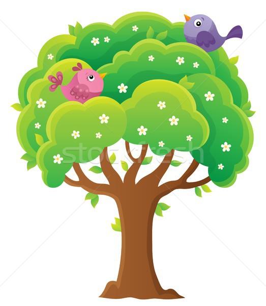 Primavera árvore tópico imagem aves animais Foto stock © clairev