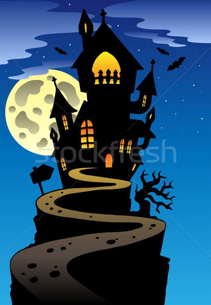 Scene with Halloween mansion 2 Stock photo © clairev