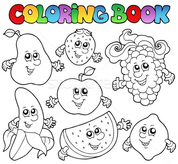 Boyama Kitabı Meyve Gıda Kitap Elma Vektör Ilüstrasyonu