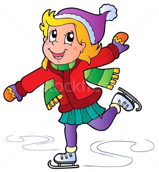 Cartoon schaatsen meisje glimlach sport kind Stockfoto © clairev