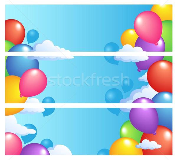 Banners ballonnen hemel kunst leuk speelgoed Stockfoto © clairev