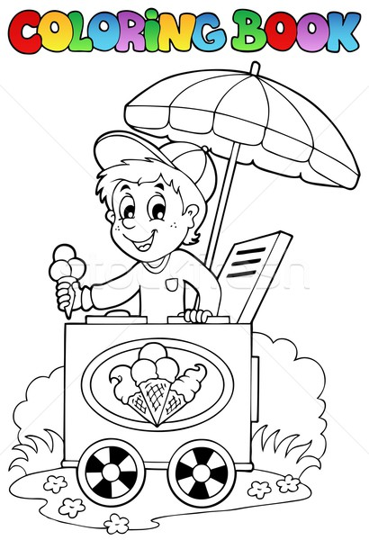 Stock photo: Coloring book with ice cream man