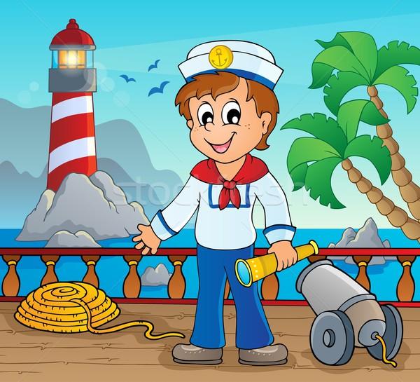 Obraz marynarz dziecko świetle sztuki dłoni Zdjęcia stock © clairev