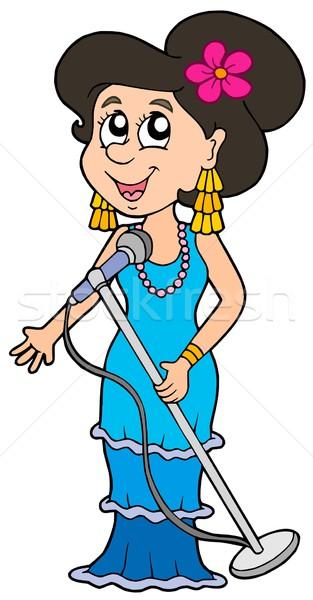 Hermosa cantante blanco música mujeres feliz Foto stock © clairev