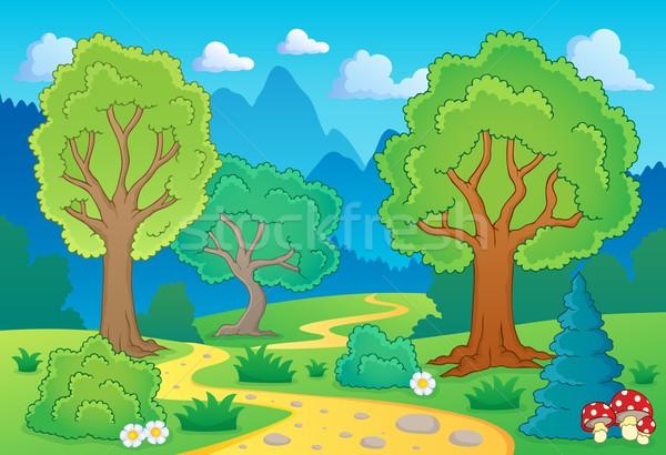 Tree theme landscape 1 Stock photo © clairev