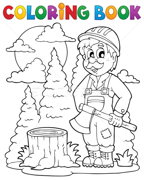 книжка-раскраска лесоруб книга человека древесины работу Сток-фото © clairev