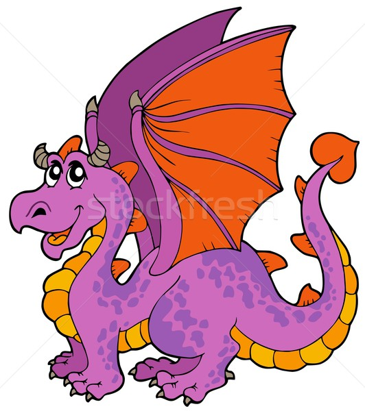Cartoon dragon grand ailes sourire design Photo stock © clairev