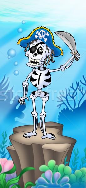 Pirate squelette mer inférieur Palm océan Photo stock © clairev