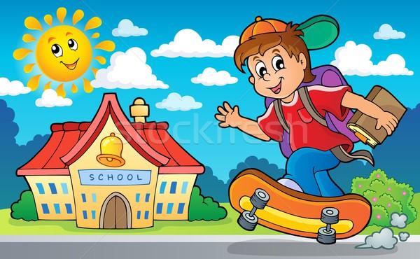 изображение школьник улыбка здании школы счастливым Сток-фото © clairev