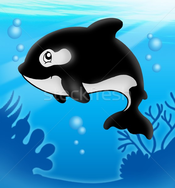 Cartoon killer whale in sea Stock photo © clairev