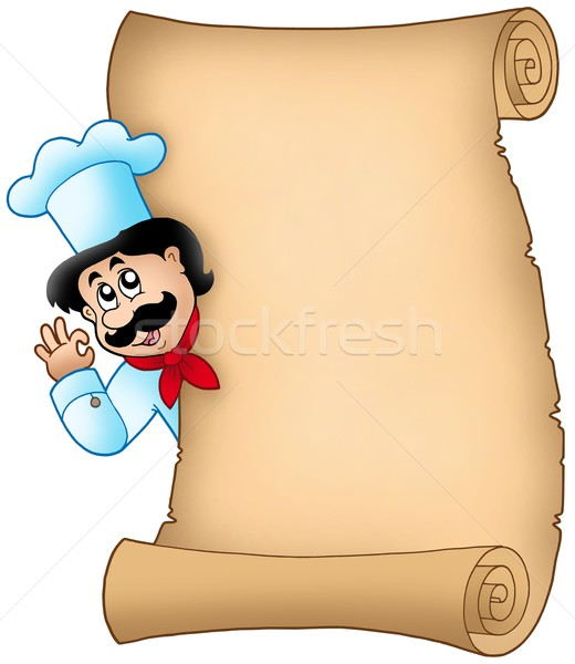 Parchment with lurking chef Stock photo © clairev