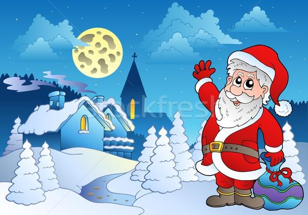 Santa Claus near small village 2 Stock photo © clairev