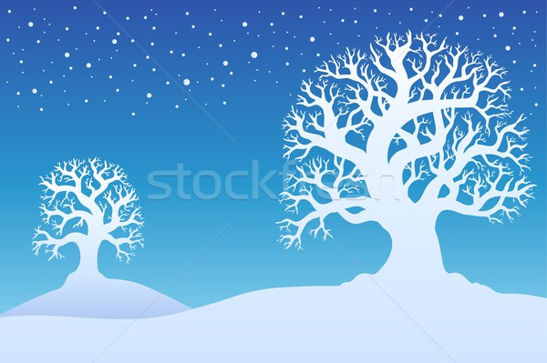Two winter trees with snow 1 Stock photo © clairev
