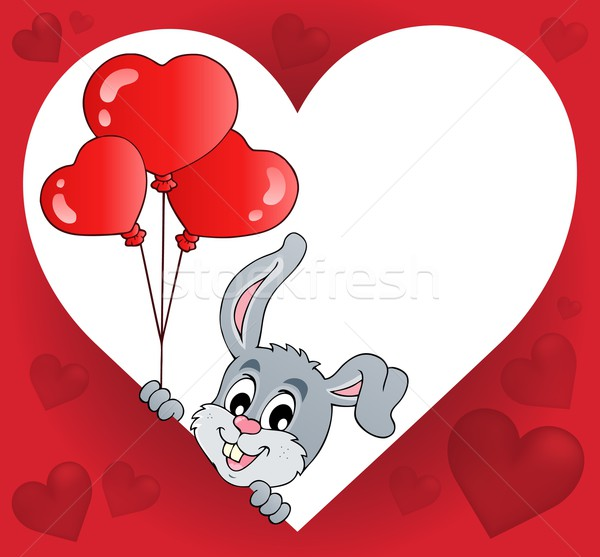 Heart shape with lurking bunny theme 2 Stock photo © clairev