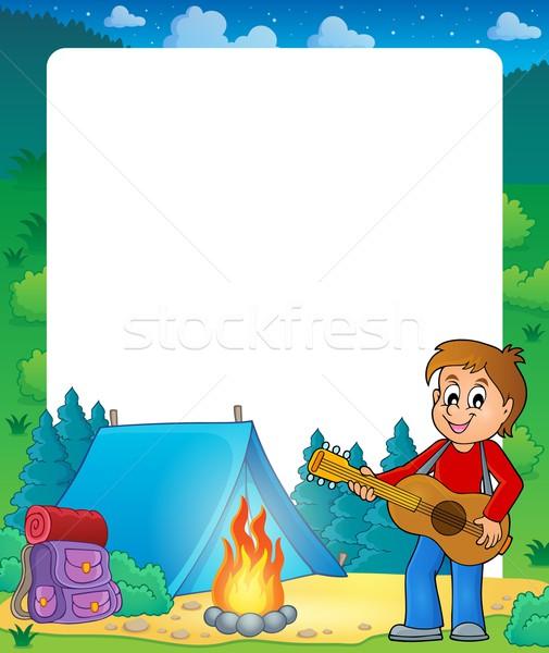 Zomer frame jongen gitarist muziek glimlach Stockfoto © clairev