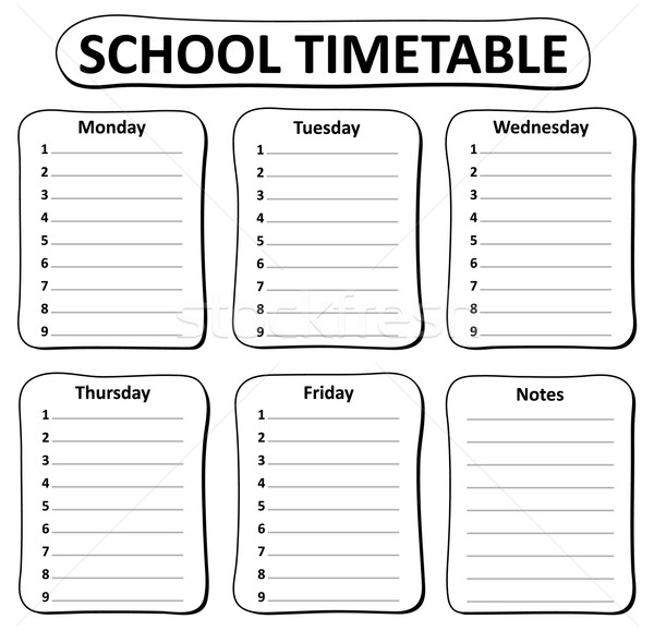 Black and white school timetable theme 1 Stock photo © clairev