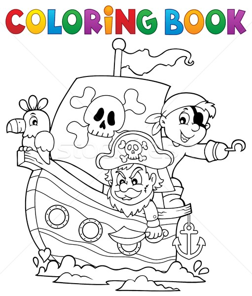 Coloring book pirate boat theme 1 Stock photo © clairev