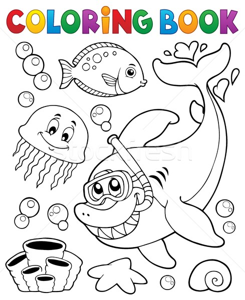 Coloring book with shark snorkel diver Stock photo © clairev